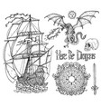 design set with old sailing ship dragon vector image vector image