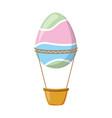 easter egg shaped air balloon basket vector image