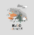 funny animals under umbrella autumn time rainy vector image vector image