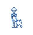gardener man with wheelbarrow line icon concept vector image vector image