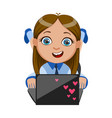 girl chatting on her lap top part of kids and vector image vector image
