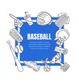 hand drawn baseball symbols framed template vector image vector image