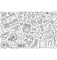 hand drawn hostel set doodle background vector image vector image