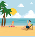 happy couple of lovers sunbathe on the beach vector image vector image