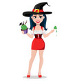 happy halloween sexy witch in beautiful dress vector image vector image