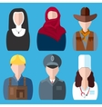 Icons people nurse nun police cowboy builder vector image vector image