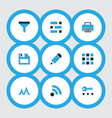 interface icons colored set with privacy edit vector image vector image