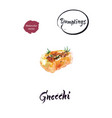 italian dumpling gnocchi watercolor vector image