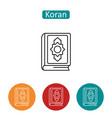 koran book outline icons set vector image vector image