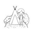 little tourist boy with teepee vector image