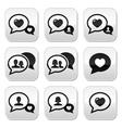 Love speech bubbles couples buttons set vector image