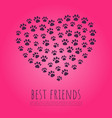 pet paws concept in heart shape vector image vector image