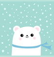 polar white little small bear cub wearing scarf vector image vector image