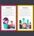 professional makeup tools and means promo posters vector image vector image