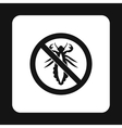 Prohibition sign insects icon simple style vector image vector image
