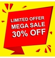 Sale poster with LIMITED OFFER MEGA SALE 30 vector image