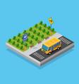 school bus on street parking lot vector image vector image
