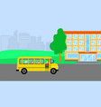 school bus with kids background flat style vector image