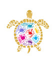 sea turtle with colored blots on the shell vector image vector image