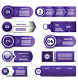 Set of violet progress version step icons eps 10 vector image vector image