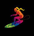 surfing sport female player surfer action cartoon vector image