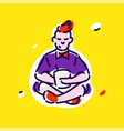 the character young man is sitting in a vector image