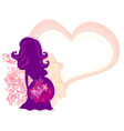 The pregnant girl in a flower abstract background vector image vector image