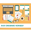 Top view on classic office workplace desk stuff vector image