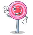 two finger cute lollipop character cartoon vector image vector image