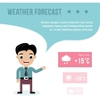 Weatherman giving a weather forecast vector image vector image