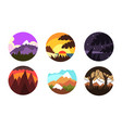 wild nature landscapes in circles collection vector image vector image