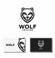 wolf face logo abstract animal head vector image vector image