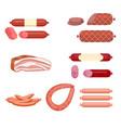 set of sausage vector image