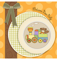 baby shower card with teddy bear and train toy vector image