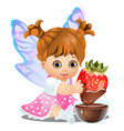 a little happy animated girl with fairy wings vector image vector image