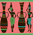 african seamless pattern of girls and vases vector image vector image
