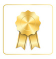 award ribbon gold icon blank medal isolated on vector image vector image