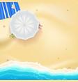 Beach sand sea waves and sun umbrella vector image
