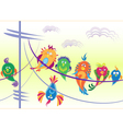 Birds sitting on wires vector image vector image