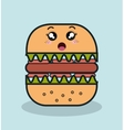 cartoon burger with facial expression and isolated vector image