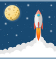 cartoon rocket in sky full moon in night sky vector image