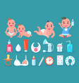 children in diapers and bottle vector image