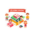 children reading books boys and girls enjoying vector image vector image