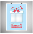 christmas card with light baclground and giftbox vector image vector image