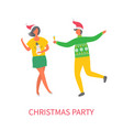 christmas party woman in skirt man glass of wine vector image vector image
