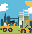 construction bulldozer forklift and structure vector image vector image