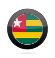 flag of togo shiny black round button vector image vector image