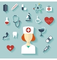 Flat design modern of medical icons vector image