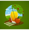 Glass Of Juice With Rural Landscape Background vector image vector image