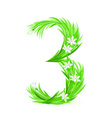 grass letters number 3 vector image